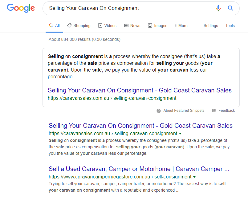 featured snippet for Caravan Sales